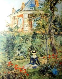Girl in the Garden at Bellevue by Manet.  Magical Garden.  This painting appeared in m'gramma's home.