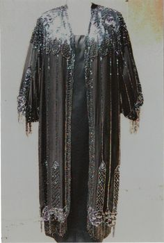 Specially Priced 1920s Art Deco Design Carnival Beaded Coat/Satin Slip Dress- Size 10/12  item 226 Gowns and Dresses