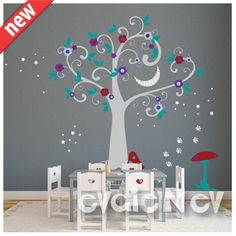 Cheshire Smile Wall Decals - Alice in Wonderland Theme with Flowers and Stars Wall Sticker - PLFTCHC010