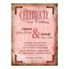 Vintage, Rouge and Old Gold Wedding Invitation