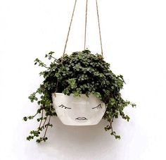 hanging planter pot with face