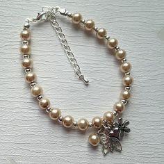 Champaign Pearl Charm Bracelet