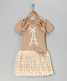 Ivory Eiffel Tower Drop-Waist Dress - Girls