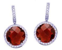 14K White Gold Generous Round Checkerboard Garnet Gemstone and Diamond Drop Earrings