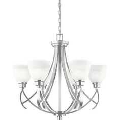 @Overstock - This simple chandelier features swirled alabaster glass shades to complements any style. This elegant design will enhance any room in your home.http://www.overstock.com/Home-Garden/World-Imports-Beyond-Modern-Collection-6-light-Chandelier/6275742/product.html?CID=214117 $268.20