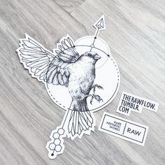 Geometric/dotwork sparrow - a chest tattoo design for Marcus (ig @marcuspjohansen)