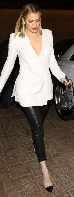 Who made Khloe Kardashian's silver sequin handbag, black cap pumps, leather pants, and white blazer?