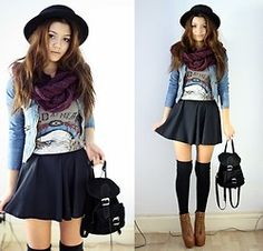 over knee socks with boots- if I were skinny, I would sooooo wear this
