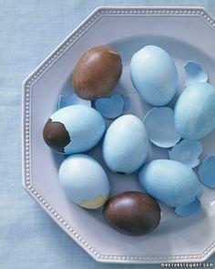 Chocolate Easter Eggs Recipe with break away colored egg shells ..a Martha recipe..so pretty.