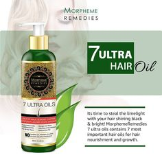 Morpheme 7 Ultra Hair Oil with Goodness of 7 Best Hair Oils – Almond, Amla, Castor, Olive, Jojoba, Coconut and Walnut Oil. Helps Control Premature Hair Fall and Hair Thinning.