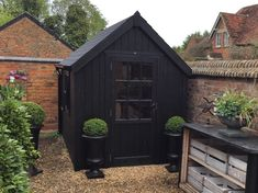 Posh Sheds Cosy Sheds Classic Sheds Stunning luxury ply lined garden sheds. Vertically clad with a traditional steep pitched roof Painted Garden Sheds, Painted Shed, Backyard Sheds, Outdoor Sheds, Indoor Outdoor, Garden Buildings, Garden Structures, Black Shed, Cool Sheds