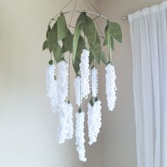 White Lily of the Valley Felt Crib Mobile Chandelier Baby