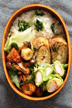 chikuwa and mushroom with surimi roll bento by shok, via Flickr
