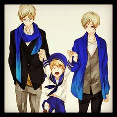 Hetalia - Sweden / Sealand / Finland THE SCARF LOOKS LIKE KAITO.NO IM NOT SHOUTING AT YOU.