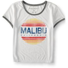 Aeropostale Malibu Ringer Crop Baby Tee (€7,88) ❤ liked on Polyvore featuring tops, t-shirts, bleach, bleached t shirt, crop t shirt, graphic crop top, cropped tops and graphic design t shirts