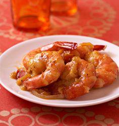 Poêlées de gambas au miel, gingembre frais et oranges - Recettes de cuisine Ôdélices