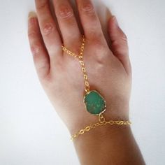 Check out this item in my Etsy shop https://www.etsy.com/listing/234991615/14k-gold-and-chrysoprase-hand-chain