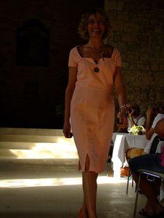 Robe Rebecca coton seersucker, motif vichy orange et blanc
