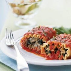 Lasagna Rolls with Roasted Red Pepper Sauce   MyRecipes.com