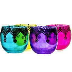 Set of Four Moroccan Lantern Votive Holders- In Fuschia, Purple, Turquoise, and Yellow Glass with Gunmetal Grey Details