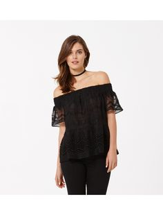 Tessa Off Shoulder Peplum Blouse Black - Womens Fashion   Forever New
