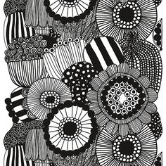 Marimekko's Siirtolapuutarha fabric features Maija Louekari's cheerful pattern that depicts beautiful summer flowers growing in allotment gardens. The monochrome fabric is made of heavyweight cotton, and its repeat measures 98 cm. White Patterns, Textures Patterns, Print Patterns, Floral Patterns, Fabric Design, Pattern Design, Monochrome, Marimekko Fabric, Nordic Design