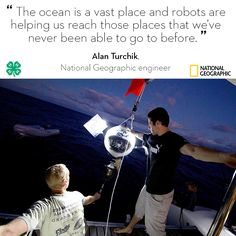 National Geographic engineer Alan Turchik shares his expertise with 4-H and describes some ways that robots are used to explore the deep ocean.  This summer, National Geographic Education invites you to build and submit your own robotic solution by August 1, for a movie ticket voucher to ROBOTS 3D* and the chance to have your solution published in a new National Geographic Kids book, Everything Robotics!