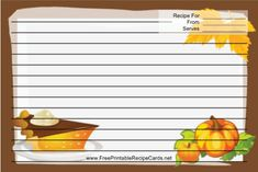 This Pumpkins Brown Recipe Card features a pair of large orange pumpkins with a brown border. Free to download and print