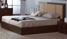 Beverly Hills Atlas Bed Brown - Brown wooden bed with fabric headboard. Aviable in Full, Queen, King.