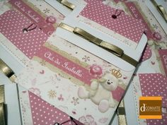 Convite Chá de bebê Ursa Princesa Flor