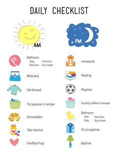 Daily Checklist for Kids daily routine Printable Daily Checklist for Kids Daily Routine Chart For Kids, Daily Schedule Kids, Daily Checklist, Charts For Kids, Kids Checklist, Morning Routine Chart, Morning Routine Kids, Kids Schedule Chart, Toddler Routine Chart