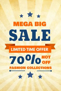 mega big sale poster flyer social media graphic design template