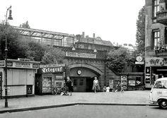 1957 Ringbahnzugang vor dem Bau der Stadtautobahn Berlin-Wilmersdorf Bernhardstrasse