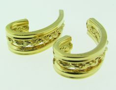 Vintage 14 K gold half hoop earring jackets. by VintageJewelryBazaar on Etsy