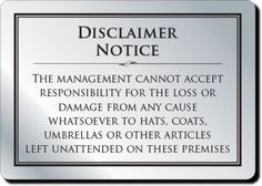 Cloakroom Disclaimer Sign and other bar supplies at great prices with fast delivery from Bar Activity!