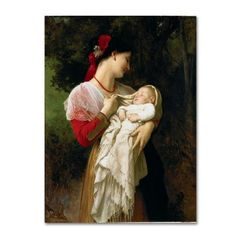 Trademark Fine Art 'Mother and Child' Canvas Art by William-Adolphe Bouguereau, Red