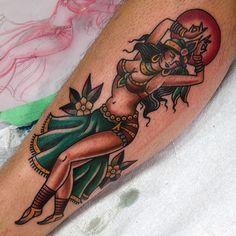 Gypsy belly dancer #gastowntattoo #traditional #tattoo #pinup #bellydancer