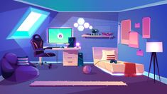 Teenager boy cozy room on attic interior cartoon vector with roof window, illuminated bed, computer monitor or TV, comfortable armchair near work desk, toys on shelf and placards on wall illustration Episode Backgrounds, Space Backgrounds, Cartoon Background, Vector Background, Airplane Interior, Couple Sleeping, Paint Drop, Living Room Background, Roof Window