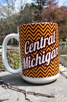 Maroon & Gold Chevron Central Michigan Coffee Mug With Flying C