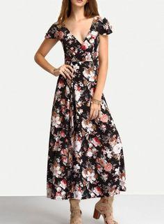 V Neck Short Sleeve Lace up Floral Printed Maxi Dress novashe.com