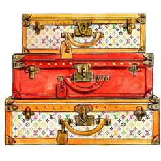 Watercolor Louis Vuitton Travel Trunks Multicolor Print