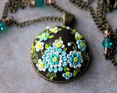 Lovely Polymer Clay Floral Applique Pendant Necklace in Teal