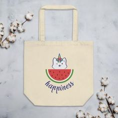 Say goodbye to plastic, and bag your goodies in this organic cotton tote bag. Cotton Tote Bags, Reusable Tote Bags, Unicorns, Watermelon, Organic Cotton, Happiness, Kitty, Cats, Summer