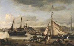 """""""L'Avant-Port de Rouen"""",  Jean-Baptiste Corot.  Au début de l'année 1833, Corot séjourne à Bois-Guillaume, chez ses amis les Sennegon. Ceux-ci l'ont accueilli durant les week-ends lorsqu'il était au collège de Rouen, de 1807 à 1812. C'est aussi chez les Sennegon qu'en 1822 il fera ses premiers essais de peinture à l'huile. Il est toujours resté en bons termes avec eux et va régulièrement leur rendre visite. Et ceci d'autant plus que sa soeur, Annette Octavie, a épousé LD Sennegon,"""