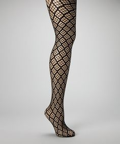 Take a look at this Black Diamond Net Tights by The WISH Collection on #zulily today!