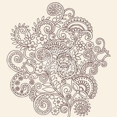 wall-mural-henna-doodle-flowers-and-vines-vector-illustration-desgn-flowers.jpg (400×400)