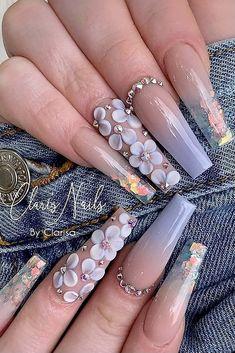 Acrylic Nail Designs Coffin, Purple Acrylic Nails, Summer Acrylic Nails, Best Acrylic Nails, Fingernail Designs, Blush Nails, Sparkle Nails, Pretty Nail Colors, Pretty Nails