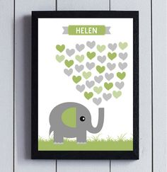 Baby Shower Guest Book birthday guestbook Elephant by RockNPrint