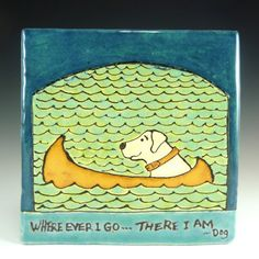 Handmade ceramic tile of a white dog in his by RamonaPalomaTile, $56.00