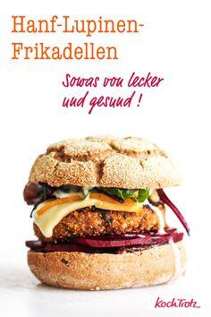 The racer with us! Burger with hemp and lupine meatballs. Lamb Burger Recipes, Healthy Burger Recipes, Gourmet Burgers, Homemade Buns, Homemade Burgers, Superfood, Lamb Burgers, Vegan Comfort Food, Diy Food
